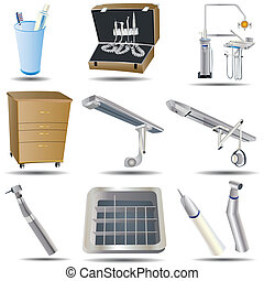 Dental Icons Set 1 - Vector illustration of dental colored...
