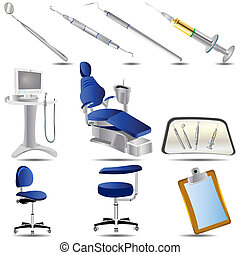 Dental Icons Set 3 - Vector illustration of colored dental...