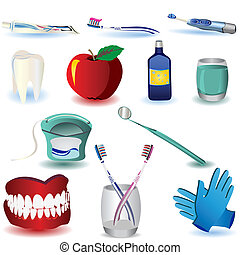 Dental Icons Set 4 - Vector illustration of colored dental...