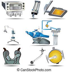Dental Icons Set 1 - Vector illustration of colored dental...