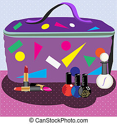 Cosmetic bag. - Cosmetic bag in front of lipsticks, nail...