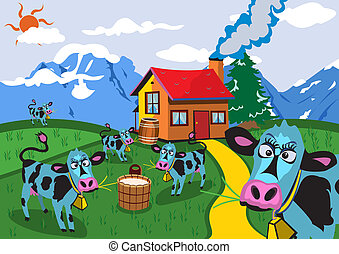 Cows On Farm - Cartoon vector illustration of funny cows on...