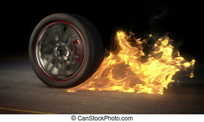 Wheel Burnout fire loop - tire Burnout on asphalt, creates...