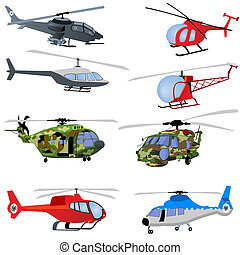 Helicopter Icons - Vector illustration of different...