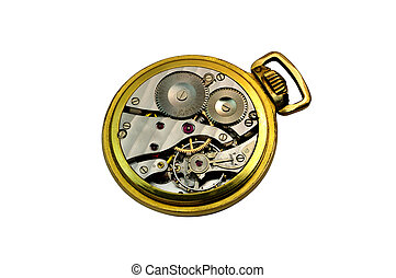 Detail of an isolated golden pocket watch - Deatail of a...