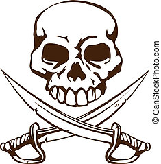 Pirate skull and crossed swords symbol - A pirate skull and...