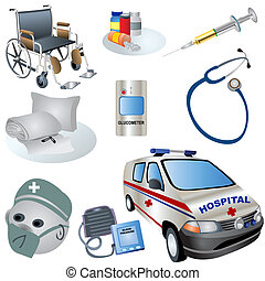 Medical Icons - Vector illustration of nine colored medical...