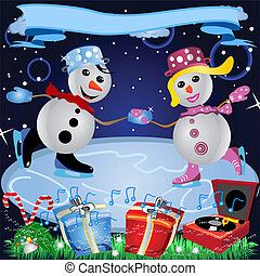 Loving Couple On Ice - Vector illustration of a snowman...