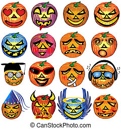 Pumkin Icons Set 2 - vector illustration of fourteen colored...