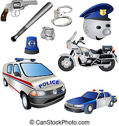 Police Icons - Vector illustration Set of nine colored...