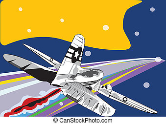 Old Airplane - Vector illustration of an old airplane...