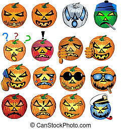 Pumkin Icons Set - vector illustration of fourteen colored...