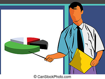 Seminar - Vector illustration of a man giving a presentation