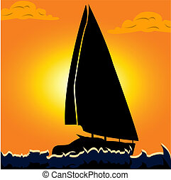 Sail Boat - Vector illustration of a silhouette of a...