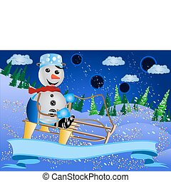 Snowman Sledging - Vector illustration of a smiling snowman...