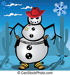 Snowman - Funny vector illustration of a snowman with guns,...