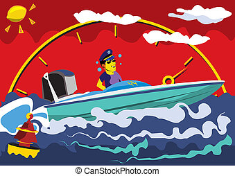 Motor Boat - Abstract vector illustration of a speed motor...