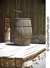 far west wooden barrel