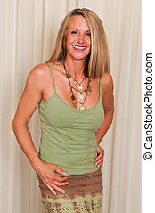 Mature hippie - Beautiful mature blonde in hippie attire