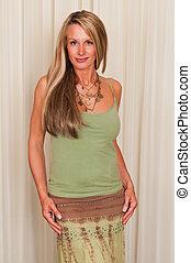 Mature hippie - Beautiful mature blonde in hippie attire