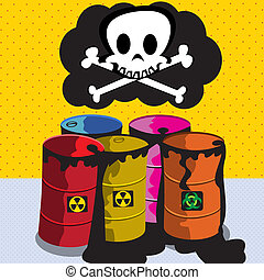 Toxic Barrel - Cartoon vector illustration of toxic barrels...