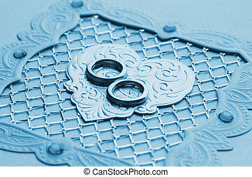 Luxury handmade wedding card element toned in blue