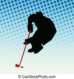 Ice hockey player - vector