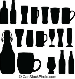 Beer bottles and glasses - vector