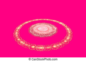 rotating pearl ring on red, seamless loop animated fractal