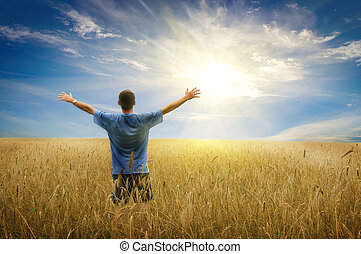 Man in yellow wheat meadow Conceptual design