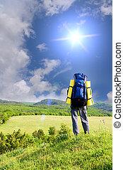 Man tourist in mountain.