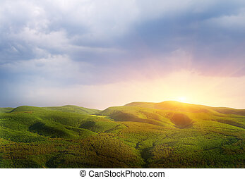 Sunset in mountain. Nature composition.