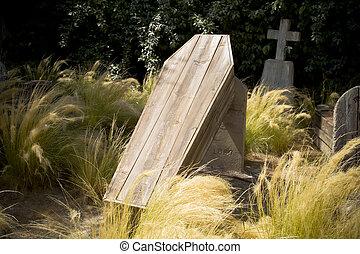 cementery, de madera, ataúdes, comming, afuera, suelo