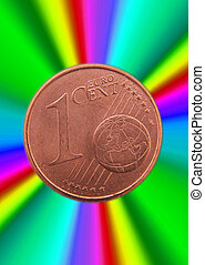 1 cent coin by light