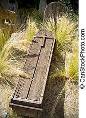 cementery, madeira, caixão, aderindo, saída,...