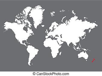 New Zealand on world map