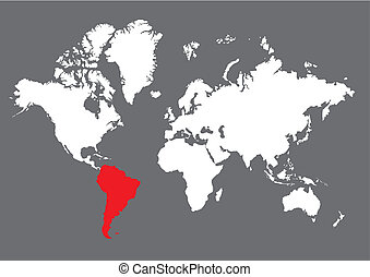 south america on the world map
