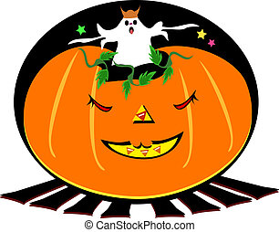 Halloween Ghost in a Pumpkin