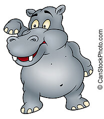 Hippo waving goodbye - Colored Cartoon Illustration, Vector