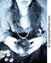 Crystal Ball - Mystery woman in with a crystal ball and...