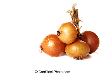 Bunch of brown onions on a white background.