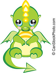 pretty dragon baby - sitting pretty green dragon baby