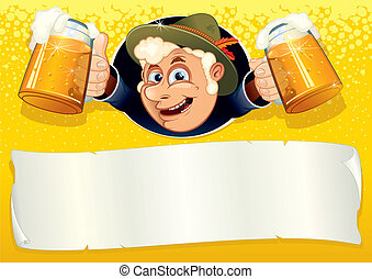 Oktoberfest Poster with smiling Brewer, ready for your text...
