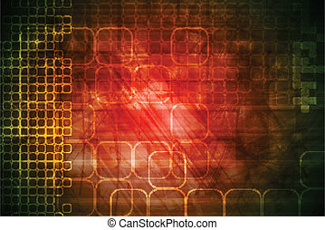 Red technical background - Tech background with grunge...