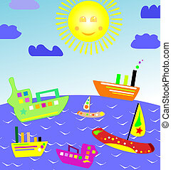 set of boats in beautiful landscapes