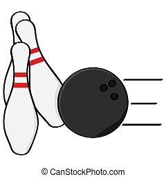 Bowling - Cartoon illustration showing a bowling ball...