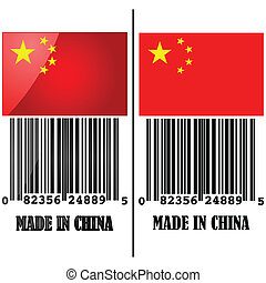Made in China - Illustration showing the flag of China with...