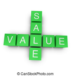 Sale and value 3D crossword on white background - Sale and...