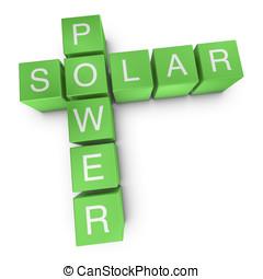 Solar power 3D crossword on white background