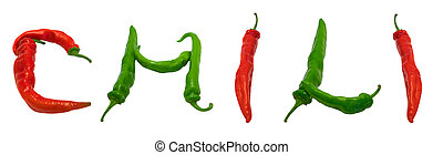 CHILI text composed of peppers - CHILI text composed of red...